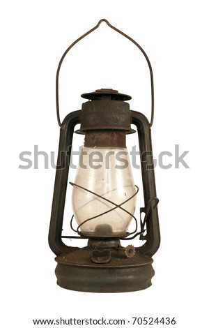 Old dusty oil lamp isolated on white 2 - stock photo