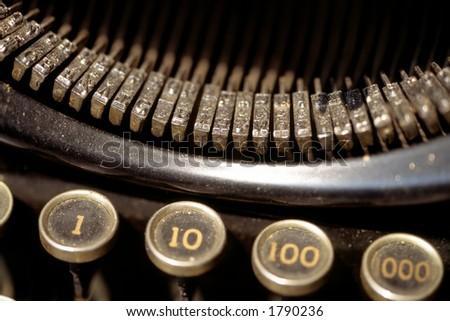 Old dusty typewriter. - stock photo