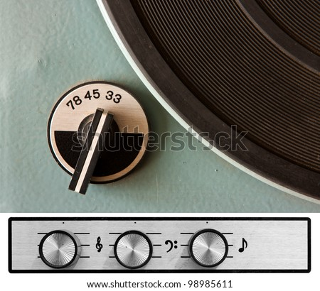 Old dusty vinyl player controls