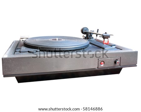 Old dusty vinyl turntable player isolated over white background - stock photo