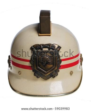 Old dutch fireman helmet - stock photo