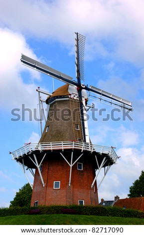 Old dutch windmill in dokkum