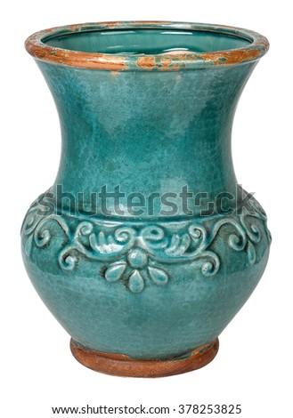 Old earthenware ceramic vase. Isolated on white - stock photo