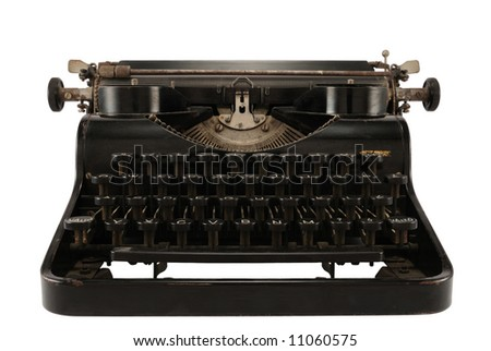 Old easily portable metal typewriter, isolated on white.