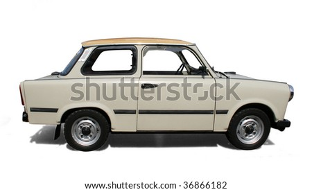 Old Eastern Europe car. Isolated on white - stock photo