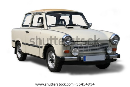 Old Eastern Europe car. Isolated on white including clipping path. - stock photo