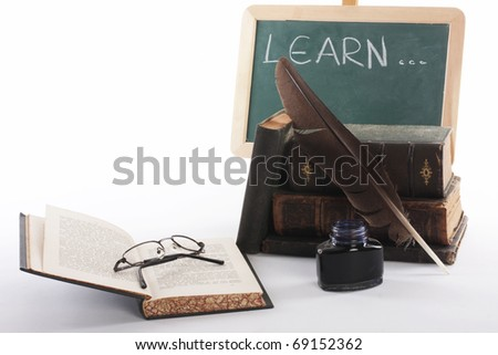old education book on the desk - stock photo