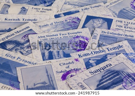 Old Egyptian tickets from all major monuments - stock photo