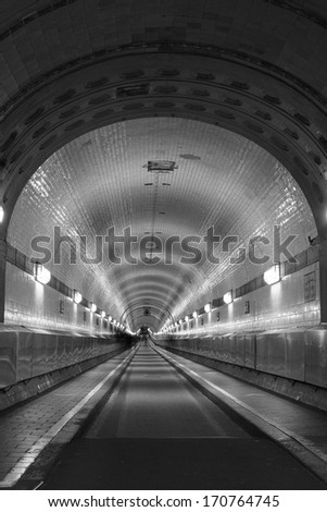 Old Elbe Tunnel in Hamburg Germany - stock photo