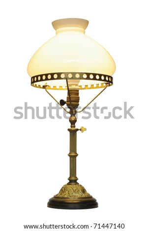 old electric lamp with lampshade on white background - stock photo