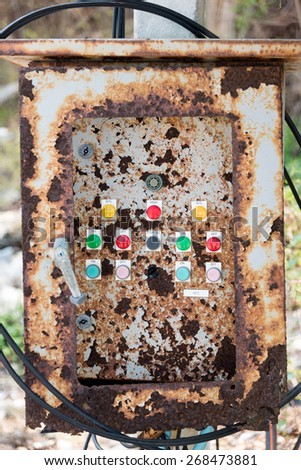 Old electric switch box - stock photo