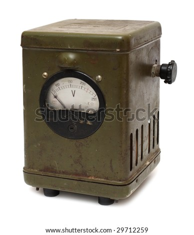 old electric voltmeter device isolated on white - stock photo