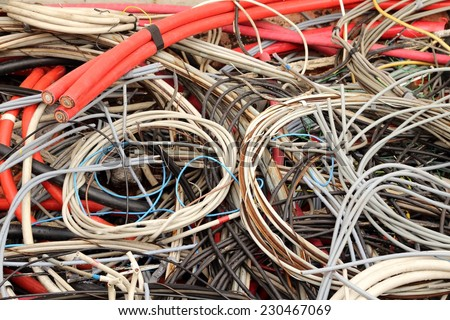old electrical copper cables in a special waste landfill