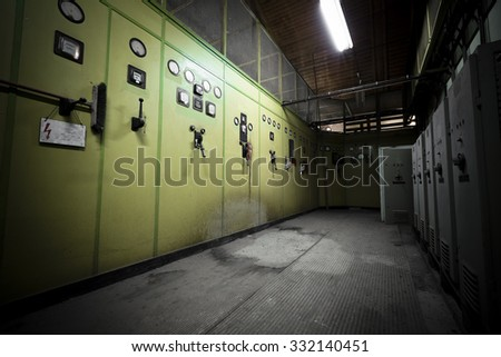 old electrical switchboards, poor light