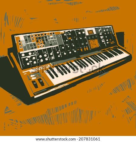 Old electronic synthesizer graphic illustration - stock photo