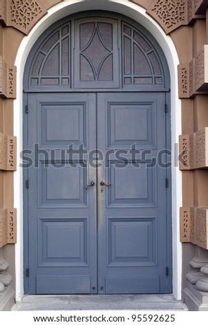 old elegant wooden door - stock photo