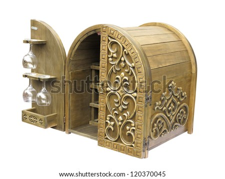 Old elegant wooden wine bar box isolated over white background