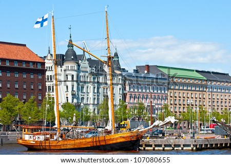 Old embankment Helsinki. The area of the old town. - stock photo