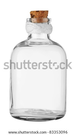Old empty Bottle with cork isolated on white. With Clipping Path. - stock photo