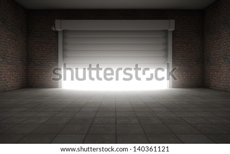 Old Empty garage with door background - stock photo