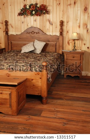 Old Empty kitchen set  in natural pine wood - stock photo