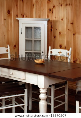 Old Empty kitchen set  in natural pine wood