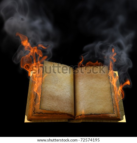 old empty open book in the flame. isolated on black. - stock photo