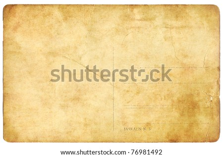 Old empty post card isolated on white background - stock photo