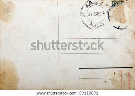 Old empty postcard, grunge paper with aging marks - stock photo