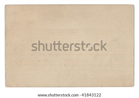 Old empty postcard isolated on white - stock photo