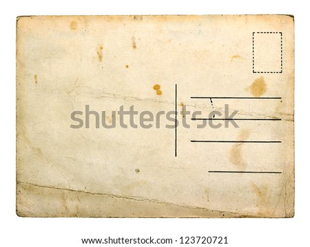 Old empty postcard isolated on white background - stock photo