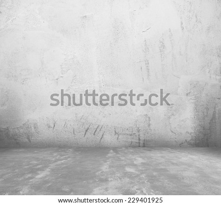 old empty room with concrete wall, grey interior background - stock photo