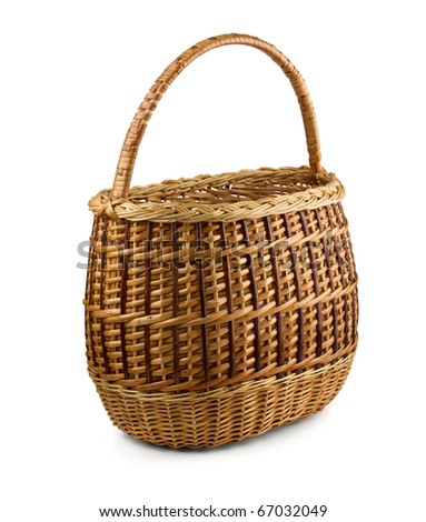 Old empty  wicker basket isolated on white - stock photo