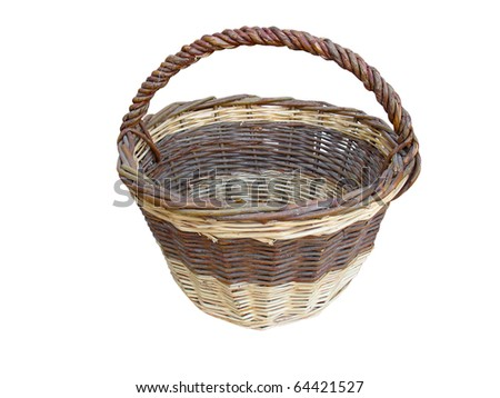 Old empty wooden basket isolated on white background