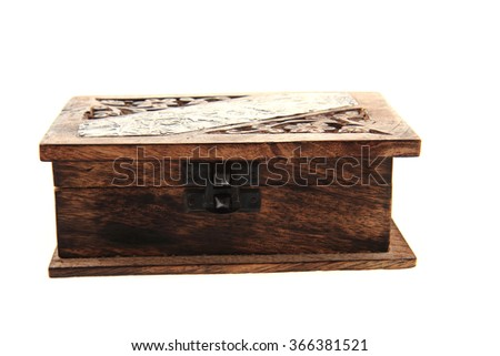 old empty wooden box isolated on the white background - stock photo