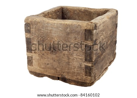 Old empty wooden box on white background