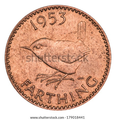 Old English Farthing (with clipping path)