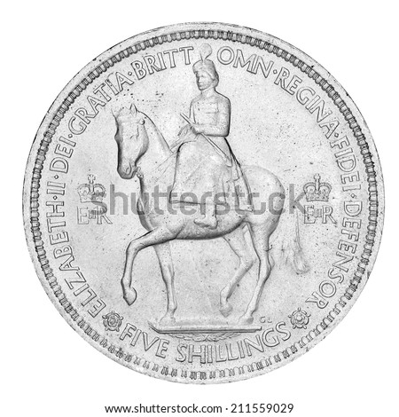 Old English Five Shilling Piece (with clipping path)