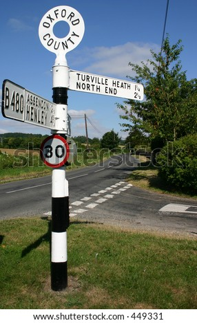 old English Road Sign - stock photo