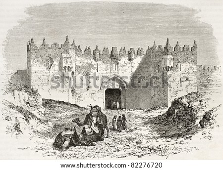 Old engraved illustration of Damascus gate, Jerusalem. Created by Therond and Maurand after photo of unknown author, published on Le Tour du Monde, Paris, 1860 - stock photo