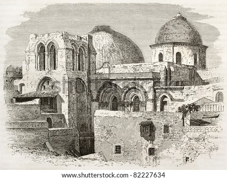 Old engraved illustration of the Church of the Holy Sepulchre, Jerusalem. Created by Therond after photo of unknown author, published on Le Tour du Monde, Paris, 1860 - stock photo