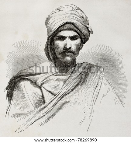 Old engraved portrait of a Bedouin. Created by Pottin after sketch of Bida, published on Le Tour du Monde, Paris, 1864 - stock photo