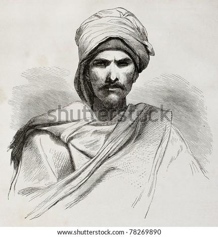 Old engraved portrait of a Bedouin. Created by Pottin after sketch of Bida, published on Le Tour du Monde, Paris, 1864 - stock photo