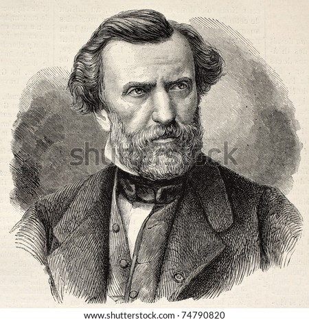 Old engraved portrait of Ambroise Thomas, French composer and Director of the Conservatoire de Paris. Created by Chenu and Robert, published on L'Illustration, Journal Universel, Paris, 1868 - stock photo