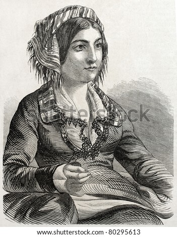 Old engraved portrait of Armenian woman in Constantinople. Created by Marc, published on L'Illustration Journal Universel, Paris, 1857 - stock photo