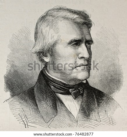 Old engraved portrait of Claude Pouillet, French physicist.  Original, created by Perot, was published on L'Illustration, Journal Universel, Paris, 1868 - stock photo