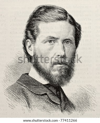 Old engraved portrait of George Potter, British trade unionist. By unknown author, published on L'Illustration, Journal Universel, Paris, 1868 - stock photo