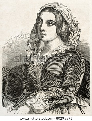 Old engraved portrait of Greek woman in Constantinople. Created by Marc, published on L'Illustration Journal Universel, Paris, 1857 - stock photo