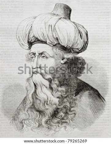 Old engraved portrait of Israhel van Meckenem the younger, German goldsmith and printmaker. Created by Pauquet after  the same artist. Published on Magasin Pittoresque, Paris, 1850 - stock photo