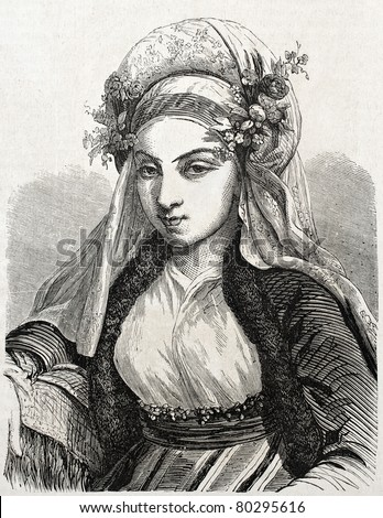 Old engraved portrait of Jewish woman in Constantinople. Created by Marc, published on L'Illustration Journal Universel, Paris, 1857 - stock photo